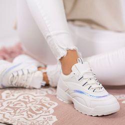 474dbec2353dd Białe buty sportowe na grubszej podeszwie z holograficznymi wstawkami Noren  - Obuwie