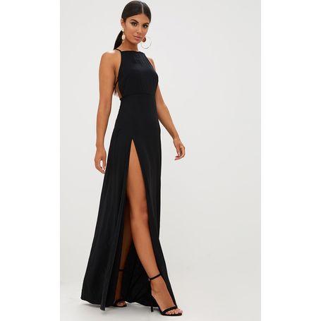 5b24235f873 Černé šifónové maxi šaty se strap detailem na zádech ...