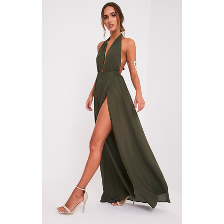 Maxi šaty v barvě khaki s hlubokým výstřihem a dlouhým rozparkem ... 4c2f85356a
